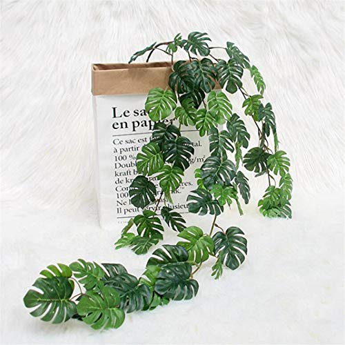 Airlove Artificial Monstera Vines Fake Turtle Leaf Rattan Faux Greenery Monstera Leaf Garland for Wall Garden Wedding Party Decoration