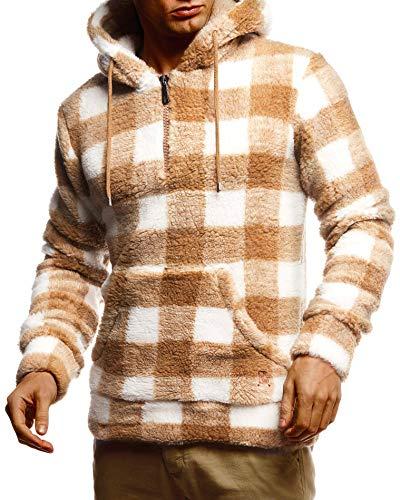 Leif Nelson Herren Hoodie Teddy Fleece Pullover mit Kapuze Kapuzenpullover für Männer Pulli Longsleeve Sweatshirt LN20110 Größe L Camel-Ecru