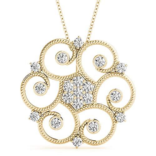 Yellow 14KT 0.35 CT Fancy Circle Bezel Set Round Diamond Pendant Necklace Amcor Design (0.35 Ct Fancy Diamond)
