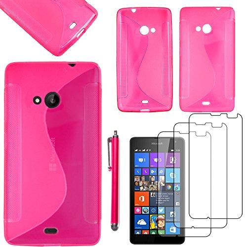 ebestStar - Cover Compatibile con Microsoft Nokia Lumia 535 Custodia Protezione S-Line Silicone Gel TPU Morbida e Sottile +Penna +3 Pellicole plastica, Rosa [Apparecchio: 140.2 x 72.4 x 8.8mm, 5.0'']