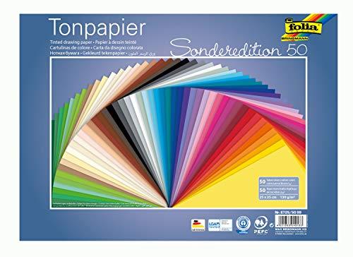 folia 6725/50 99 - Tonpapier Mix, 25 x 35 cm, 130 g/qm, 50 Blatt sortiert in 50 Farben - ideale Grundlage für vielseitige Bastelarbeiten