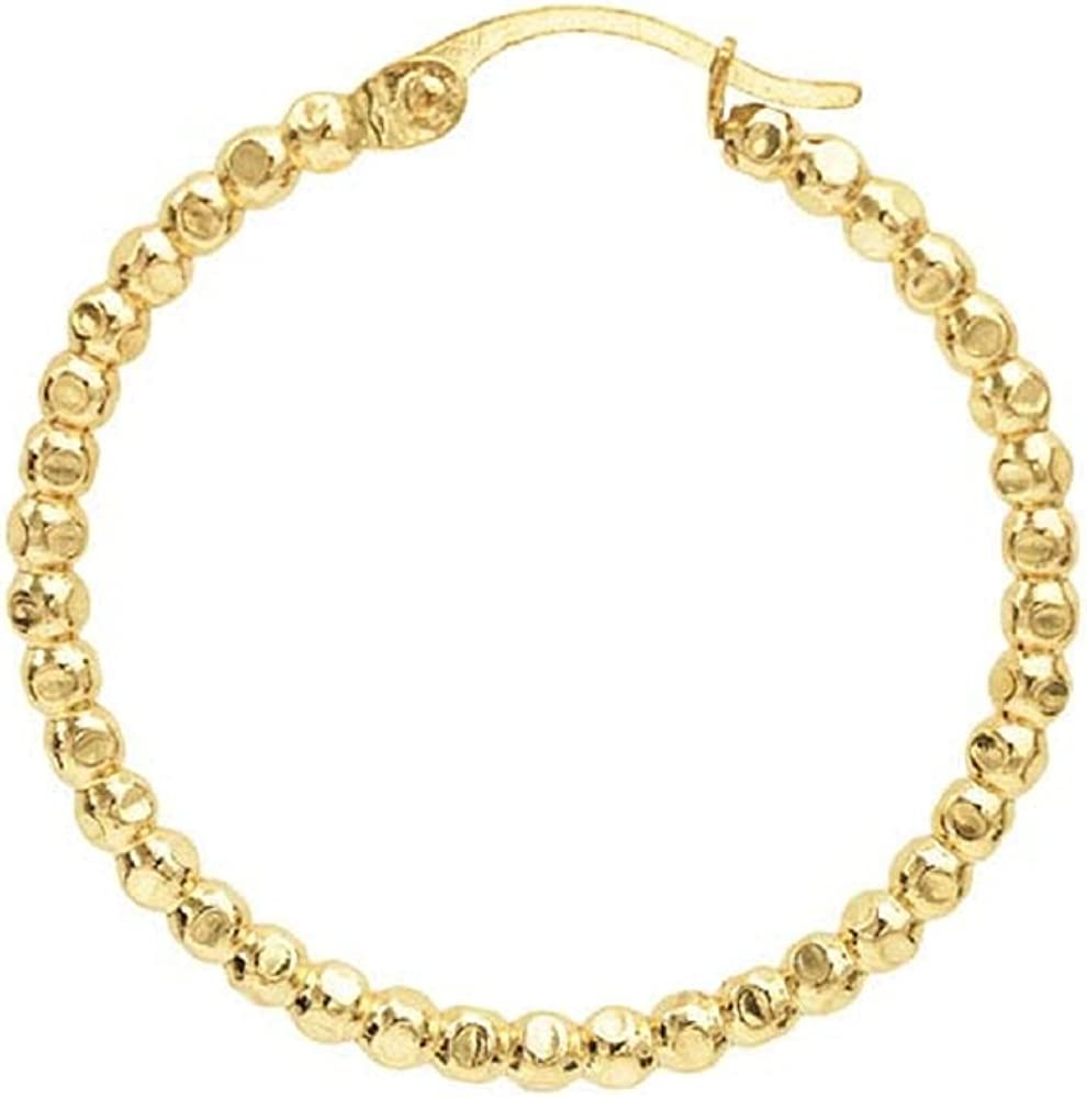 12/20 Yellow Gold-Filled Faceted Bead Round Hoop Earrings: .6,.8 or 1 inch Size - 100% Hypoallergenic (1 Inch)