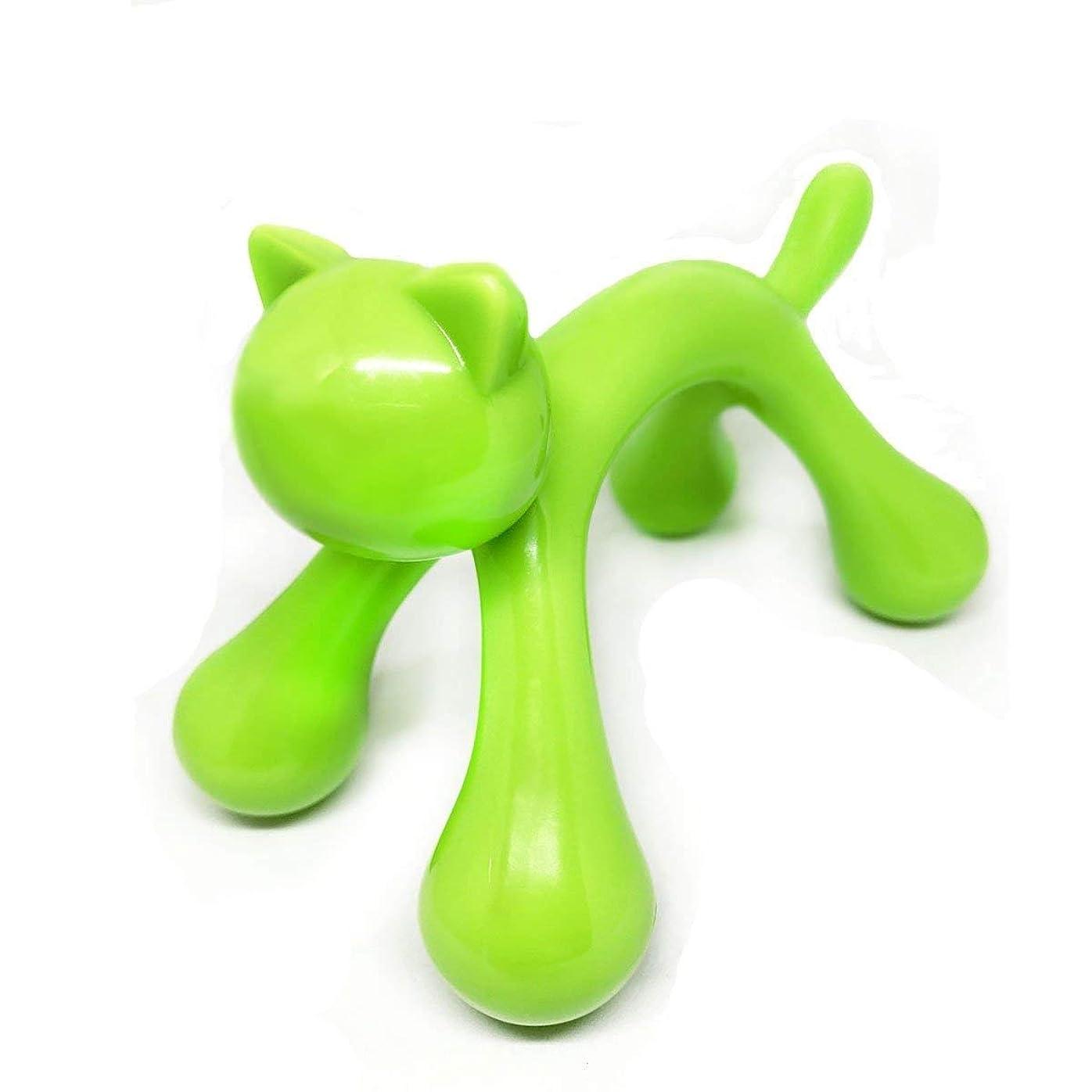 メジャー大声で貫通Simg マッサージ棒 ツボ押しマッサージ台 握りタイプ 背中 ウッド 疲労回復 ハンド 背中 首 肩こり解消 可愛いネコ型 (グリーン)