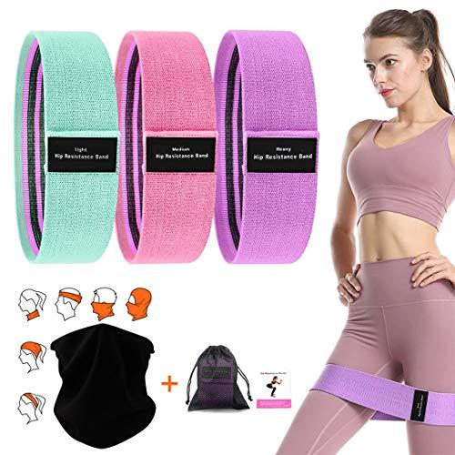 Soxtome 3 Stücke Hip Bands, Fitnessband mit Multifunktionstuch für Hüften Beintraining Klimmzüge Muskelaufbau 3 Verschiedene Widerstandsbänder für Damen und Herren