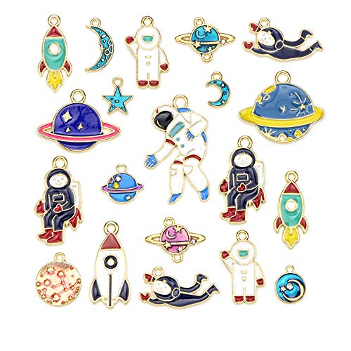 AllRing 20 Pieces Pendant Charms Spaceship Gold Enamel Charms Pendants Mixed Styles Plated Enamel for Jewellery Crafts Bracelet Necklace Earring Charms DIY Accessories