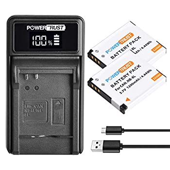PowerTrust 2Pack NB-8L NB8L Battery and LED USB Charger for Canon PowerShot A2200 A3000 is A3100 is A3150 is A3200 is A3300 is A3350 is