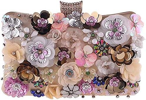 BDBT Women's Evening Handbags European and American Fashion Flower Sequin Clutch, Suitable for Dinner, Wedding, Party 20x12x6cm