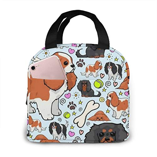 Boys Girls Insulated Neoprene Lunch Bag - Cavalier?King?Charles?Spaniel Pattern Tote Handbag Lunchbox Food Container Cooler Warm Pouch For School Work Office