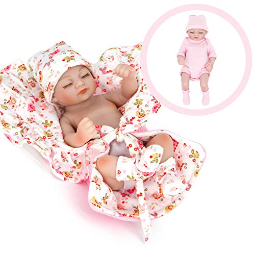 KRR 10.6' Reborn Baby Dolls Silicone Full Body, Realistic Baby Dolls, Silicone Baby Doll, Real Life Baby Dolls, Lifelike Newborn Baby Doll Weighted Toddler Dolls, 2 Suits for a Bath