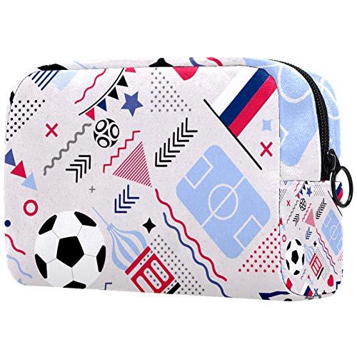 Bolsas de Aseo Fútbol Deportivo Hombres y Mujeres Bolsa de Almacenamiento de Viaje Suave al Tacto de Impresa Personalizada 18.5x7.5x13cm