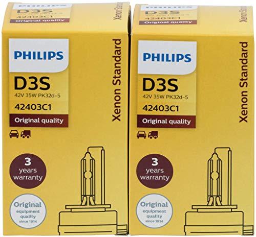 2 x Philips D3S 42403 Xen Start Standard Bulb Xenon Brenner 92853 01244 Scheinwerfer Lampe Original Neu Ersatzlampe 12 V