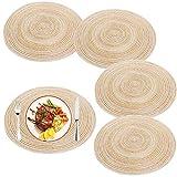 BETOY Lot de 4 sets de table ronds tissés - Lavables - En coton - Résistants à la chaleur et antidérapants - Idéaux pour la cuisine, les fêtes, les mariages, etc. - Diamètre : 38 cm - Beige