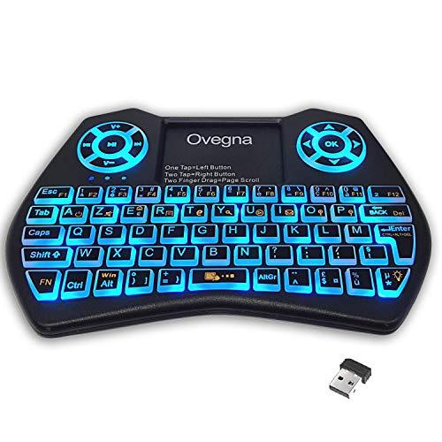Ovegna i9 : Mini Clavier sans Fil (AZERTY), Wireless 2.4Ghz, Touchpad, Batterie Rechargeable, Rétro-éclairée RVB, pour Smart TV, PC, Mini PC, Mac, Raspberry PI 2/3/4, Consoles, Laptop et Android Box