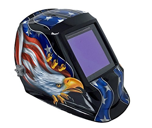 """Instapark ADF Series GX990T Solar Powered Auto Darkening Welding Helmet with 4 Optical Sensors, 3.94"""" X 3.86"""" Viewing Area and Adjustable Shade Range #5 - #13 American Eagle"""