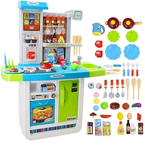deAO Cocinita Mi Pequeño Chef con Características de Sonidos, Panel Táctil y Agua - Más de 40 Accesorios Incluidos (Azul) , color/modelo surtido