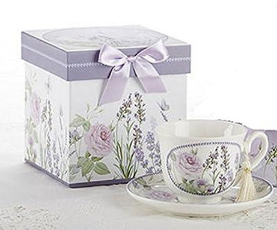Porcelain Adult Tea Cup and Saucer, Lavendar & Rose Pattern, Arrives in Matching Keepsake Box