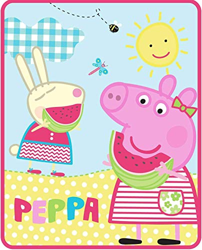 "FairyShe Peppa Pig Kids Fleece Blanket Cartoon Print Baby Throw Blanket,40"" x 55"" Soft Warm Plush Sheet for Crib Bed Living Room(Peppa Pig 40' x 55'"