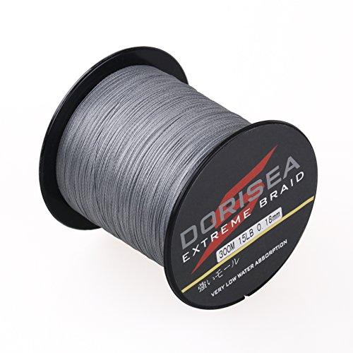 DORISEA Extreme Braid 100% PE trenzado línea de pesca 328Yards 6-300lb prueba (gris, 30 lb/0,26mm)