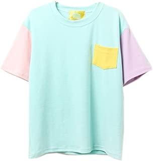 Namnoi Women Summer Patchwork Pastel Tops Tees Pocket Design