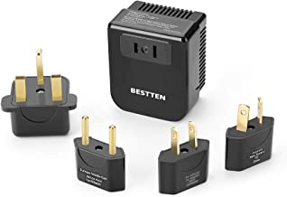 BESTTEN 1875W Step Down (220V to 110V) Voltage Converter Transformer and Travel Plug Adapter for UK/AU/US/EU/Asia, CE and RoHS Certified, Black