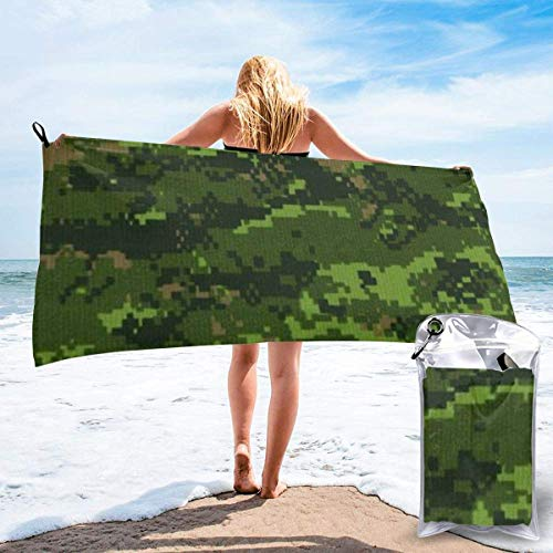 Gebrb Toalla de baño de Microfibra,Toallas de Gimnasio,Green Army Digital Camouflage Microfiber Fast Drying Towels Suitable for Camping, Backpacking,Gym, Beach, Swimming,Yoga