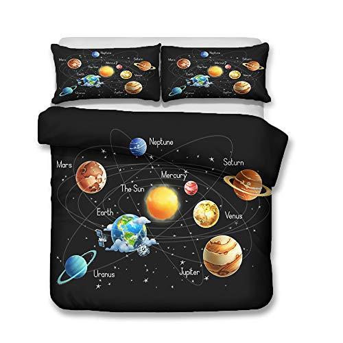 QWAS Bettwäsche Raum Planet Astronauten Muster Serie Bettbezug weiche hochwertige Mikrofaser Bettdecke Bettbezug (A3,140x210cm+80x80cmx2)