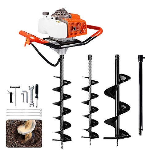 ECO LLC 63cc 3.4HP Gas Powered Auger Post Hole Digger with Two Earth Auger Drill Bit 6
