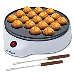 ✔️ COMPACT AND LIGHTWEIGHT – Measures 9 x 9 x 3.5 inches (L x W x H) and weighs only 700 grams. Lightweight and compact design make it easy for you to store this Takoyaki maker anywhere you want to. ✔️ STURDY AND DURABLE – thick aluminum with HDPE bo...