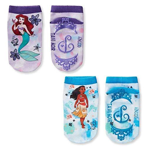 Tiny Soles Disney Character Pattern Toddler Low Rise No-Slip Grip Socks, Princess 2 Pack Medium