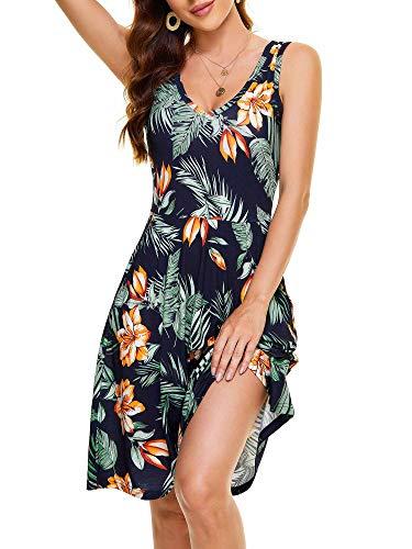 HUHOT Beach Dress for Hawaiian Luau Tropical V Neck Sleeveless with Pockets Flowy Floral Midi Summer Flowy Dress