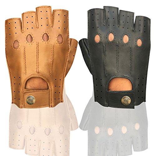 Herren Top Qualität Weiches Leder Half Finger Driving Handschuhe Motorrad Bus Driver Finger Weniger 314 314-Black xl