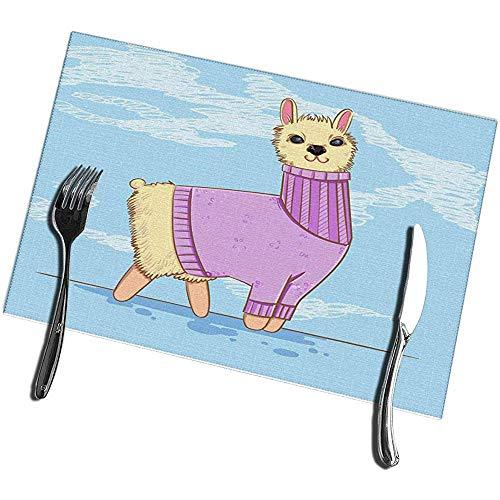 sunnee-shop placemats voor eettafelset van 4 schattige Alpaca of Lama in een trui op blauwe dieren kiddie-cartoon-figuur
