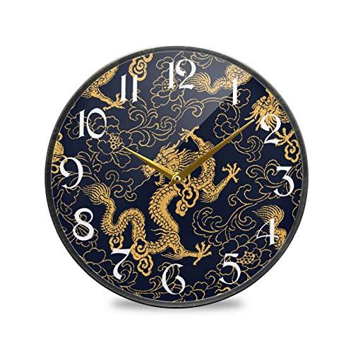 ART VVIES Reloj de Pared Redondo de 9,5 Pulgadas Que no Hace tictac silencioso Funciona con Pilas Oficina Cocina Dormitorio Decoraciones para el hogar-dragón Dorado Tradicional Chino