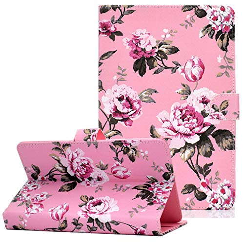 Coopts Case for 8 Inch Tablet, PU Leather Shockproof Stand Wallet Cover for iPad Mini 5 4 3 2 1/Samsung Galaxy Tab A/Tab E/Tab 4/ Tab S2 8.0/ Mediapad T1 8.0/ T1 8.0 Pro/Honor T1 8.0, Pink Flowers