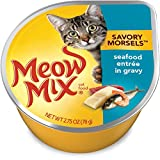 Meow Mix Savory Morsels Wet Cat Food, Seafood Entrée, 2.75 Ounce Cup (Pack of...