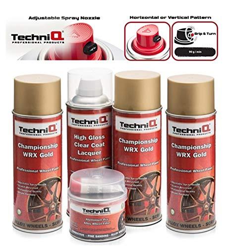 TechniQ WRX Championship - Juego de Pintura para Llantas de aleación de Oro (400 ml, 3 latas, Revestimiento Transparente Brillante y Relleno para Llantas de Aluminio, 250 g)