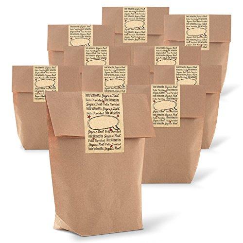 'Pochette cadeau 25 Marron avec fond (14 x 22 x 5,6 cm) en papier kraft et 25 autocollants Joyeux Noël pour liebenvollen emballer cadeaux en 3 langues?; Qualité 1 A.
