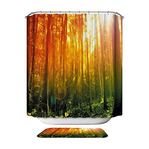 HarsonundJane 3D Druck Duschvorhang Wasserdicht Polyester Badezimmer Vorhang mit Haken 180 × 180 cm / 180 × 200 cm (Bäume, 180 x 200 cm)