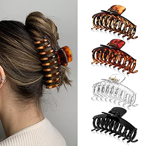 4 Stück Große Haarklammer, Kunststoff Klaue Clips Rutschfest Haarspangen, Dicke Haare Klaue Für Frauen, Große Haarspangen Haar-Accessoires für Frauen Damen Mädchen