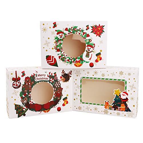 Gukasxi Scatole di Caramelle Regalo di Natale da 12 Confezioni, scatole di Cupcake per Biscotti con scatole di bomboniere per finestre Scatole per Confezioni Regalo per Dolci Natalizi White