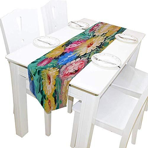 Decoración del hogar del corredor de la mesa, estera de café del corredor del mantel de las flores coloridas de la primavera del vintage para la decoración del banquete del banquete de boda 13 x 90 pulgadas