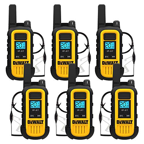 DEWALT DXFRS300 1 Watt Heavy Duty Walkie Talkies with Headsets - Waterproof, Shock Resistant, Long Range & Rechargeable Two-Way Radio with VOX (6 Pack)