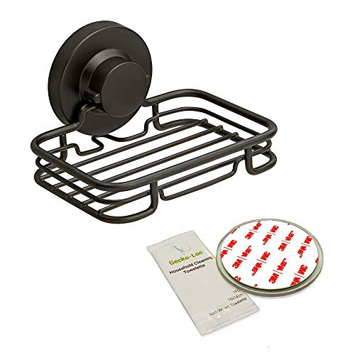 Gecko-Loc 🦎 Rustproof Black Vacuum Suction Soap Dish Holder for Shower or Bath, Sponge Holder Sink Organizer - Easy Installation and No Drilling Stainless Steel - Adhesive Disk Now Included