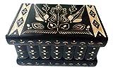 Gran Rompecabezas de Madera Magia Misterio Secreto Caja Caso Hermosa Mano Tallada de Almacenamiento de Joyas complicado Juguete Especial (Negro)
