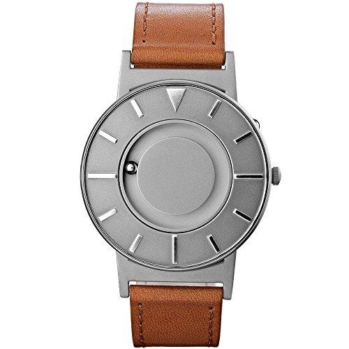 eone Bradley Voyager Reloj Unisex de Acero Inoxidable con Pulsera de Piel Italiana