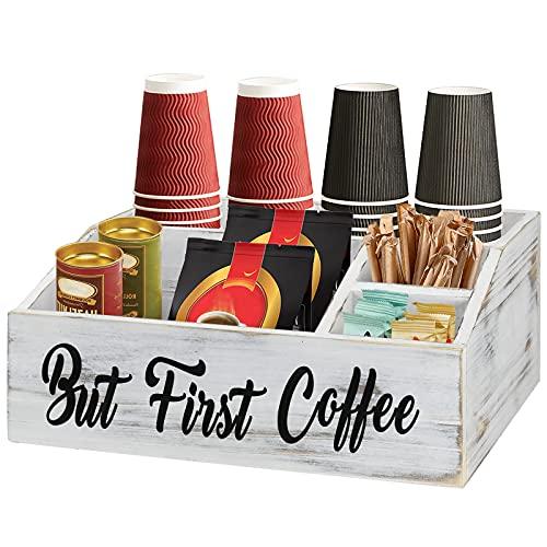 Wooden Coffee Bar Bin Box, Coffee Bar Sign Organizer, Coffee Pod Holder Storage Basket, Coffee Station Holder, Coffee Accessories for Counter, Farmhouse Kitchen Decor, Coffee Lover