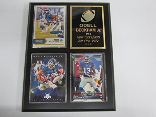 Giants Odell Beckham JR 3 Card Black Finish 7 x9 Plaque Custom Engraving product image
