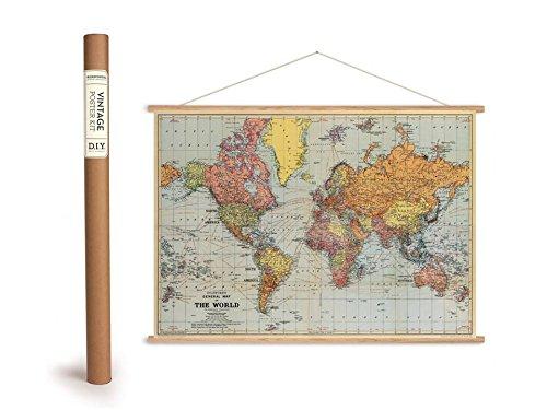 Vintage Poster Set mit Holzleisten (Rahmen) und Schnur zum Aufhängen, Motiv