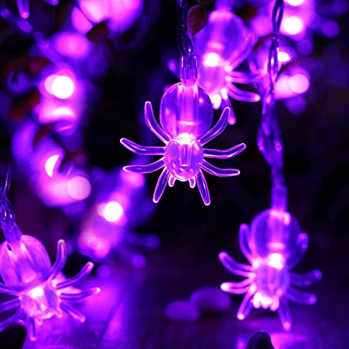 Qedertek Halloween Deko, 2 Pack Spinne Halloween Dekoration Lichterkette mit 20 LED Bunt 2.9 Meter 2 Modi Party Lichterketten Außen Beleuchtung für Halloween, Garten, Weihnachten, Haus, Hof