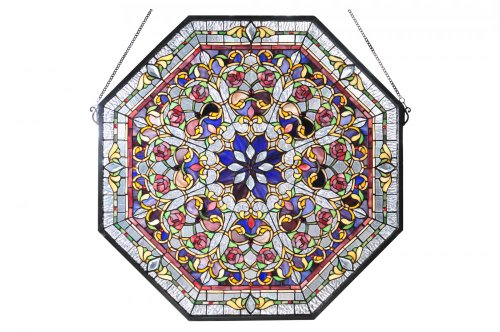 """Meyda Tiffany 107222 Front Hall Floral Stained Glass Window, 25"""" Width x 25"""" Height"""